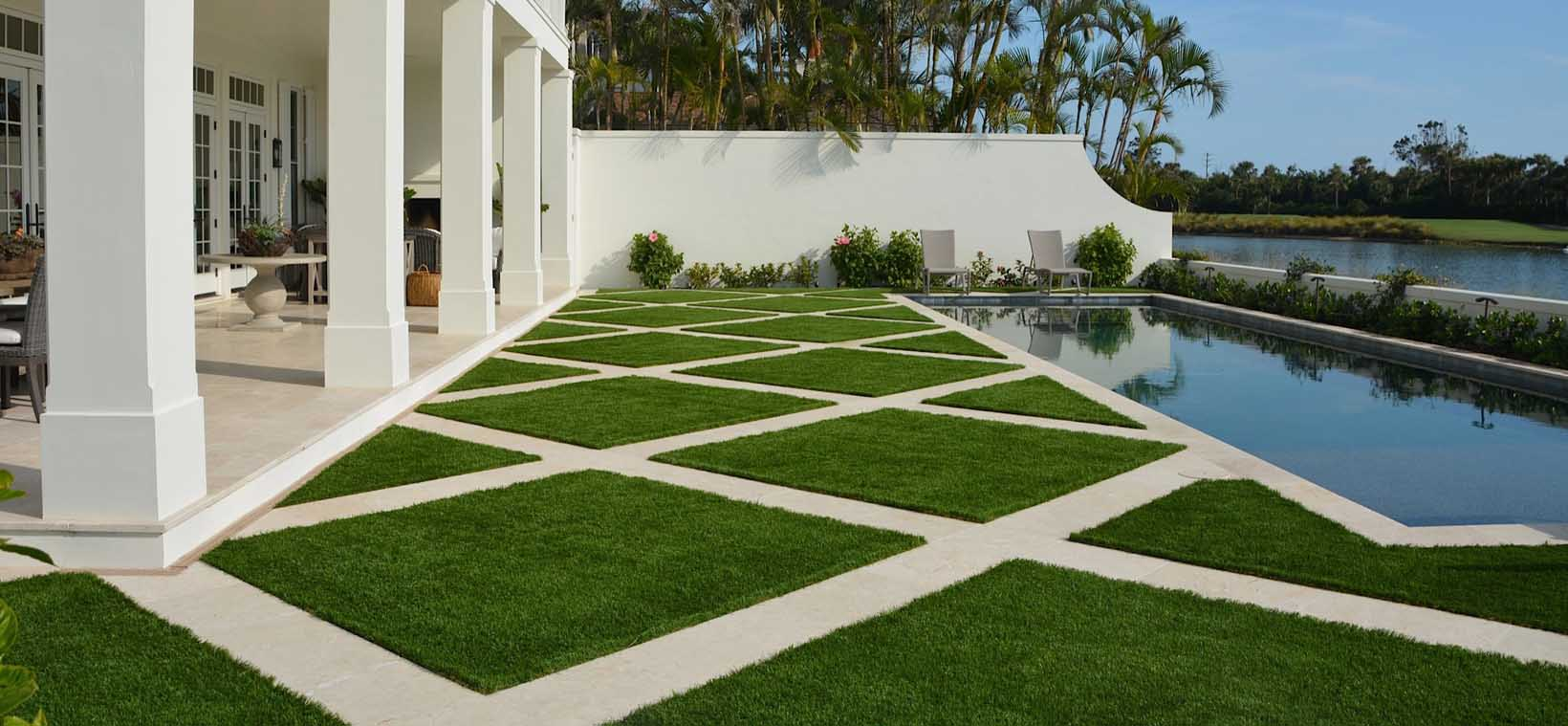 Aiello Landscape synthetic turf pool side